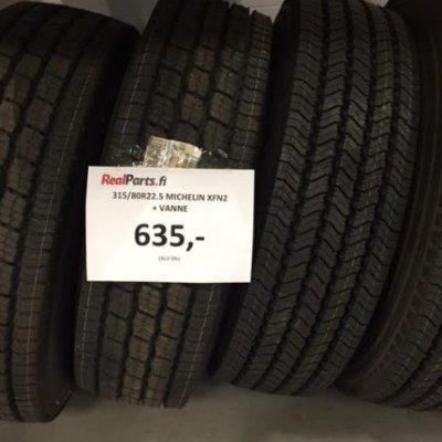 315/80R22.5 Michelin XFN2 rengas ja vanne