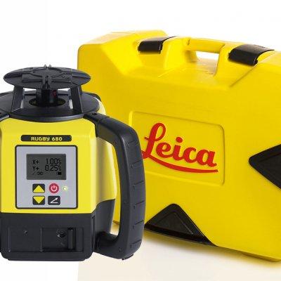 Leica Rugby 680 pyörivä laser ja kuljetuslaukku